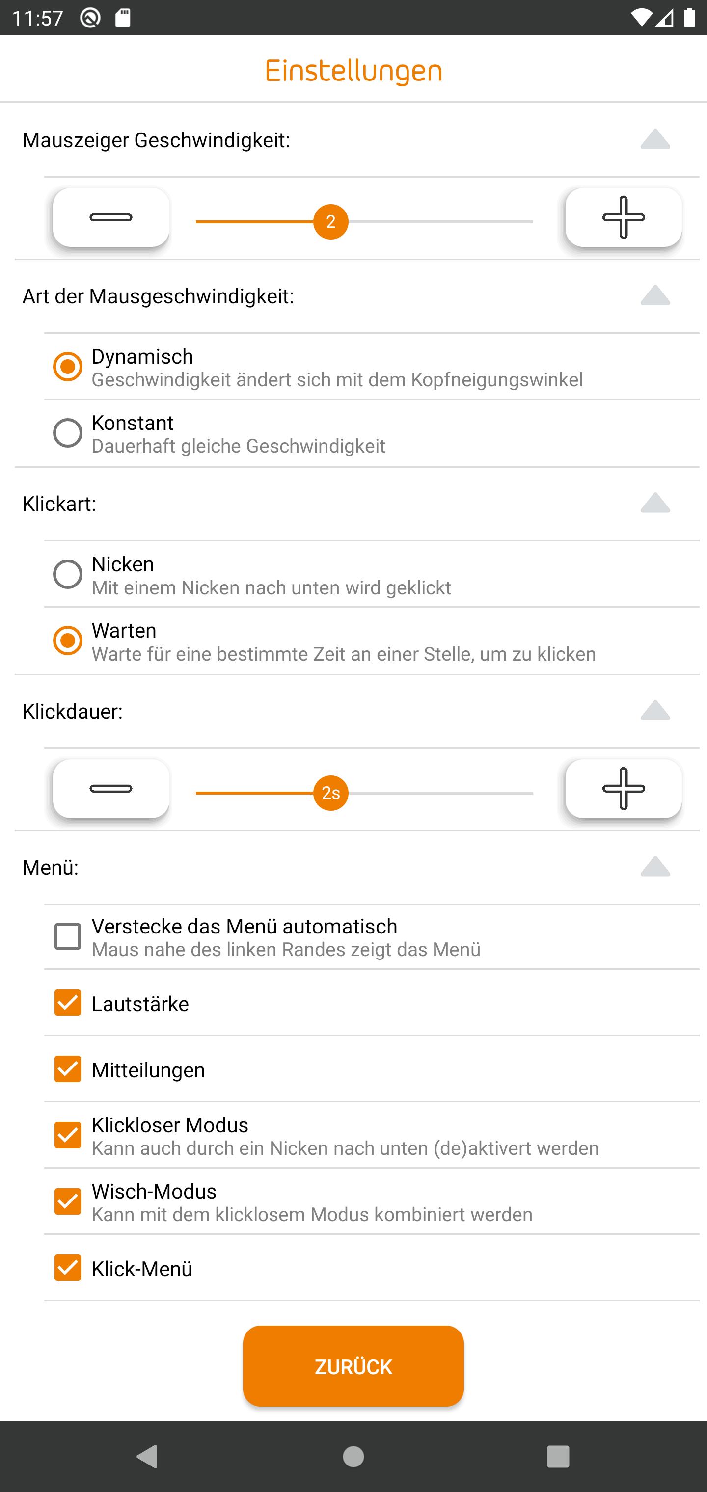 Erweiterung zur Rollstuhlsteuerung Einstellungen App-Ansicht.