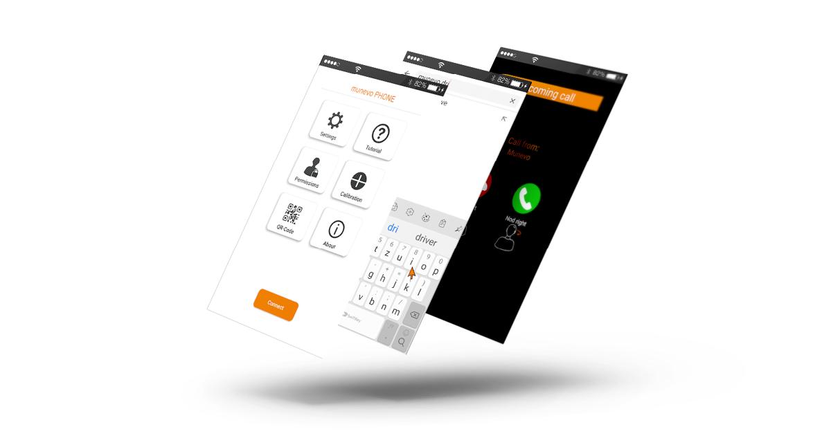 Erweiterung zur Elektrorollstuhl Steuerung munevo PHONE ClipArt der App Ansicht