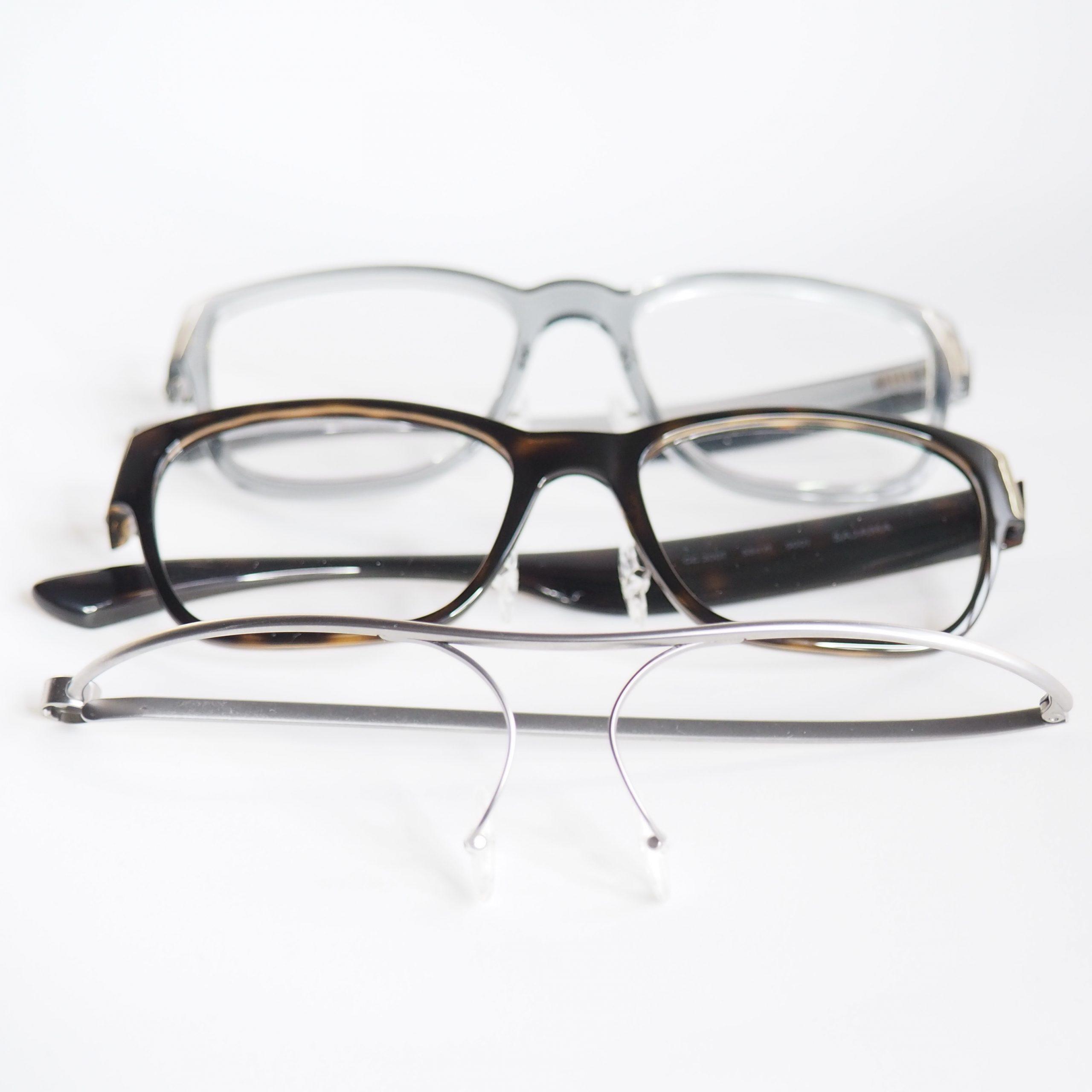 Drei verschiedene Brillengestelle, die für die Sondersteuerung munevo DRIVE genutzt werden können